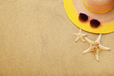 Beach hat with starfishes and sunglasses on sand stock vector