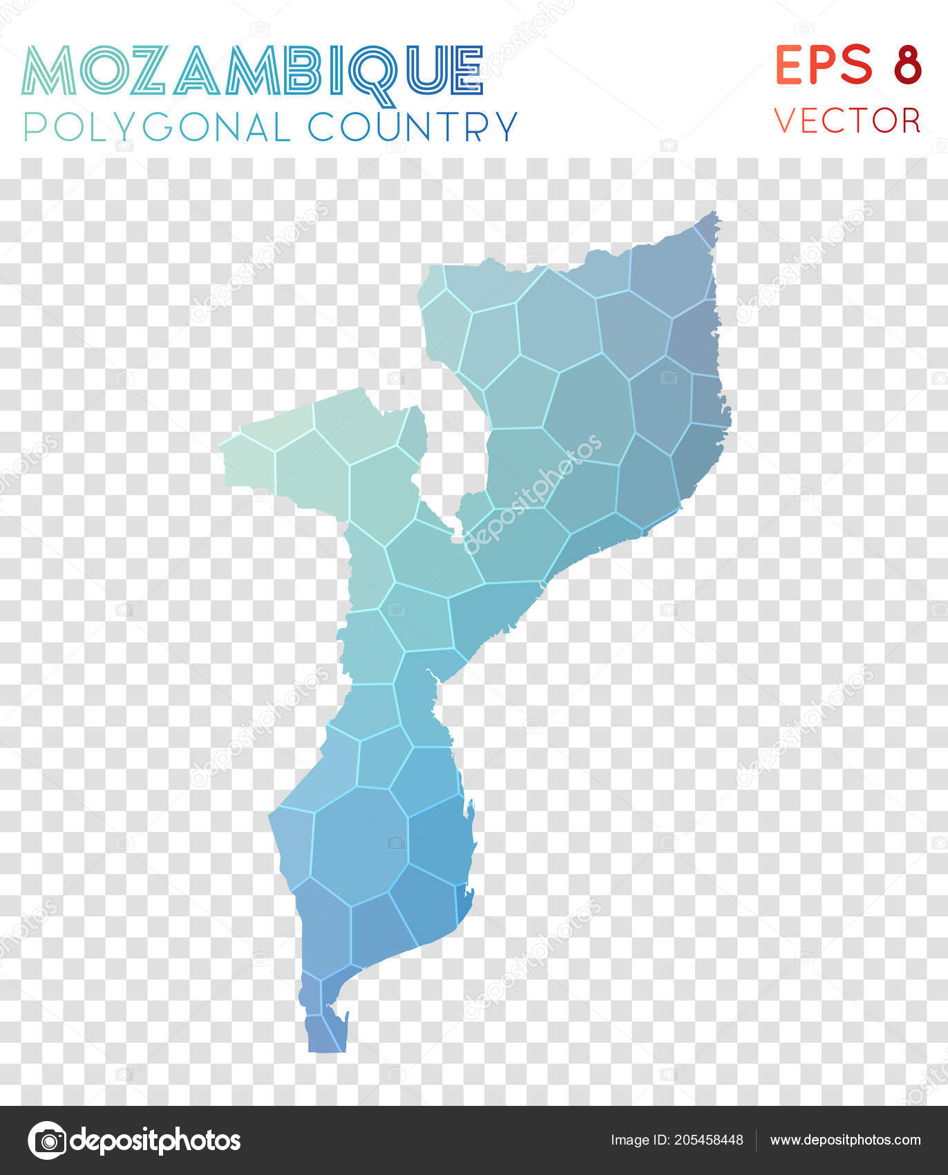 Mozambique Polygonal Map Mosaic Style Country Sublime Low Poly Style Modern  Design Mozambique U2014 Vetores De