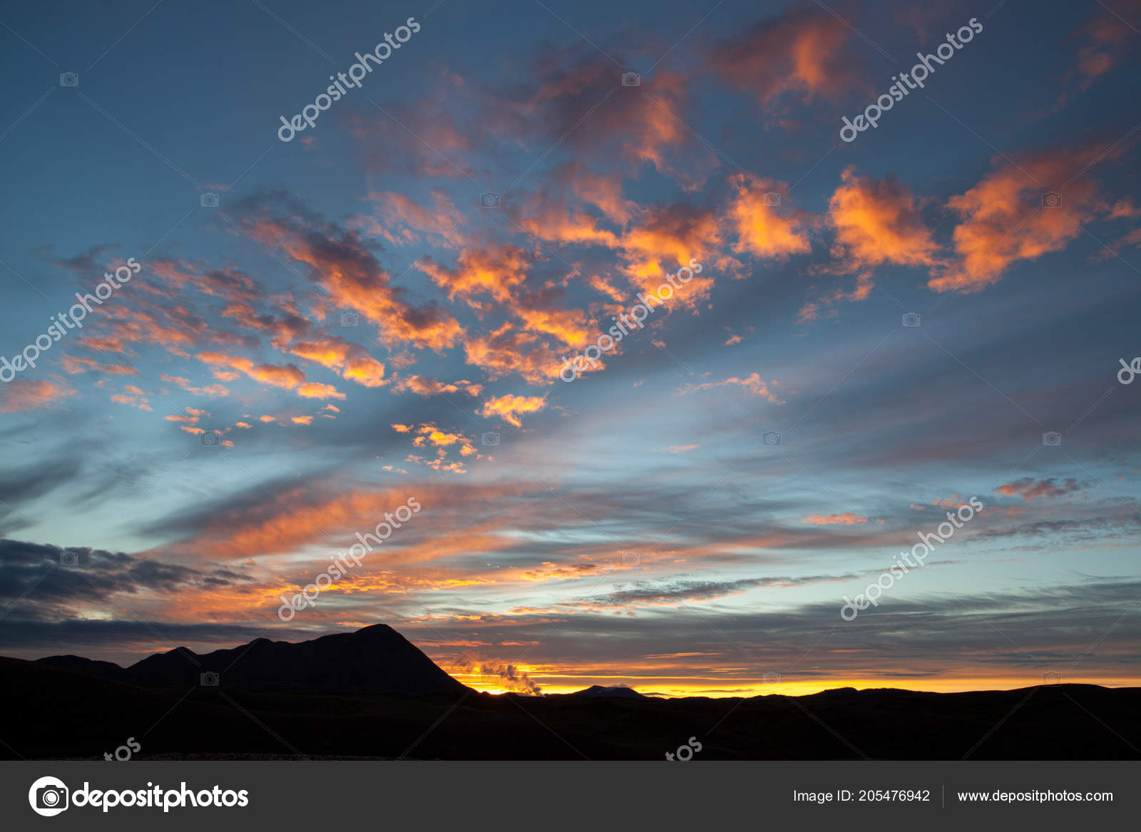 Midnight Sunset In Iceland Mountains Bright Orange Clouds On