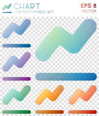 Chart geometric polygonal icons Amazing mosaic style symbol collection Glamorous low poly style