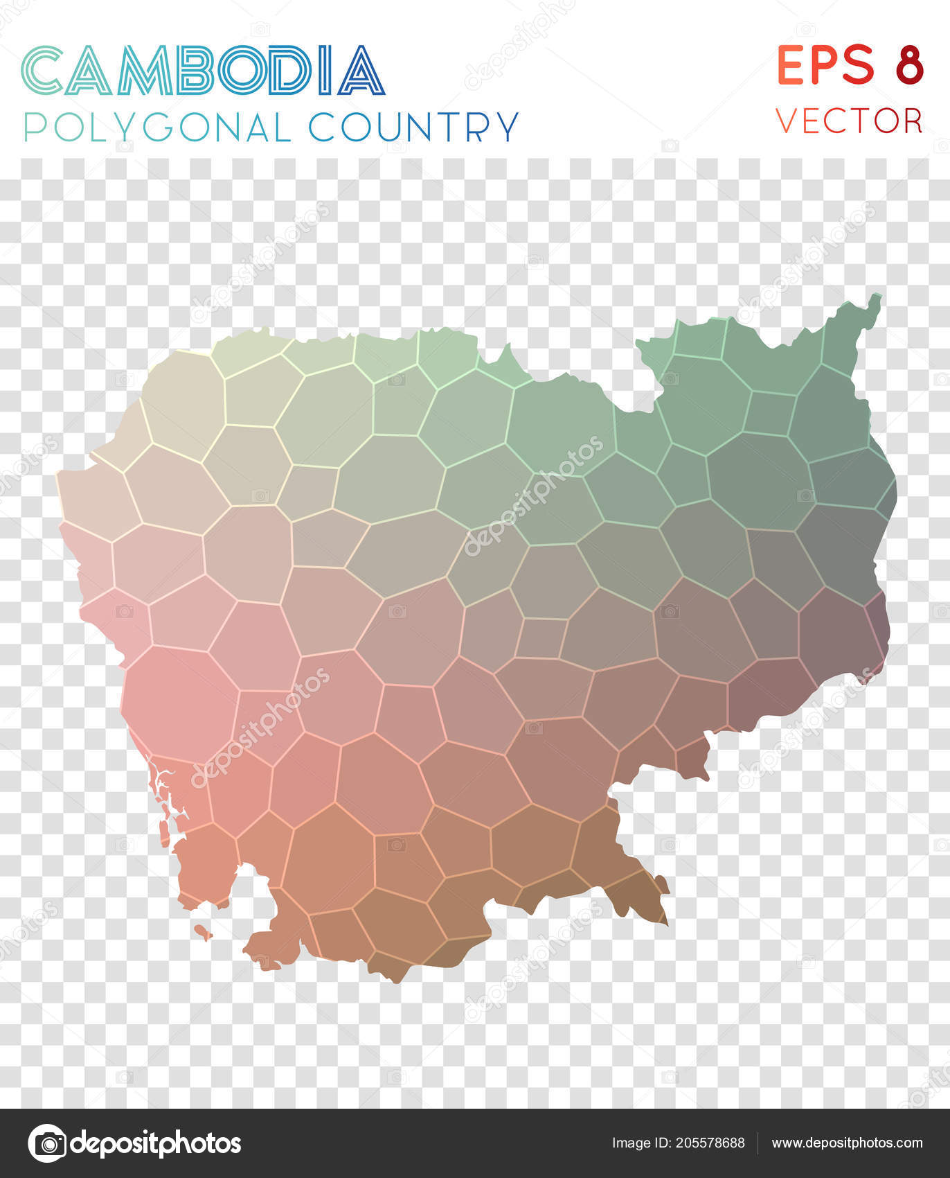 Elegant Cambodia Polygonal Map Mosaic Style Country Outstanding Low Poly Style  Modern Design Cambodia U2014 Vetores De