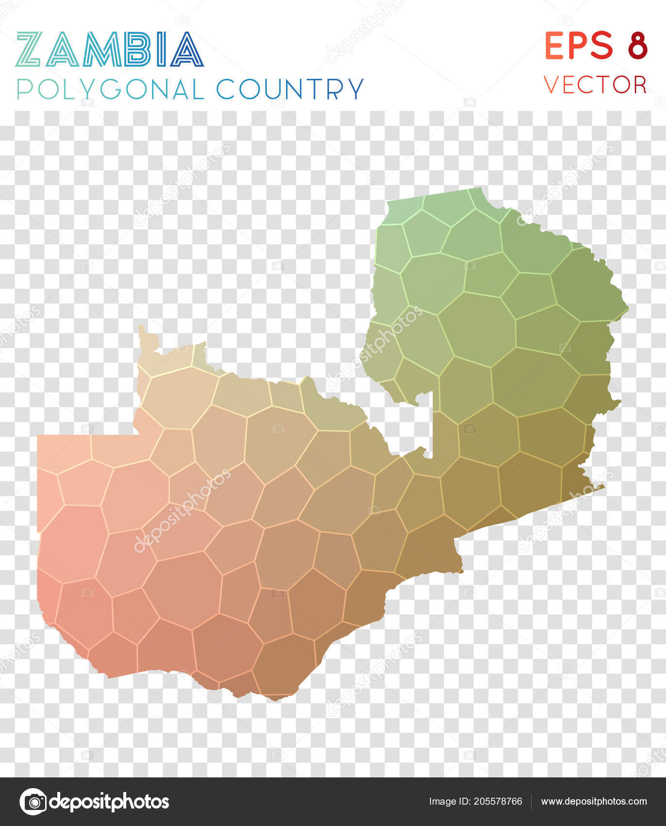 Charmant Zambia Polygonal Map Mosaic Style Country Favorable Low Poly Style Modern  Design Zambia U2014 Vetores De
