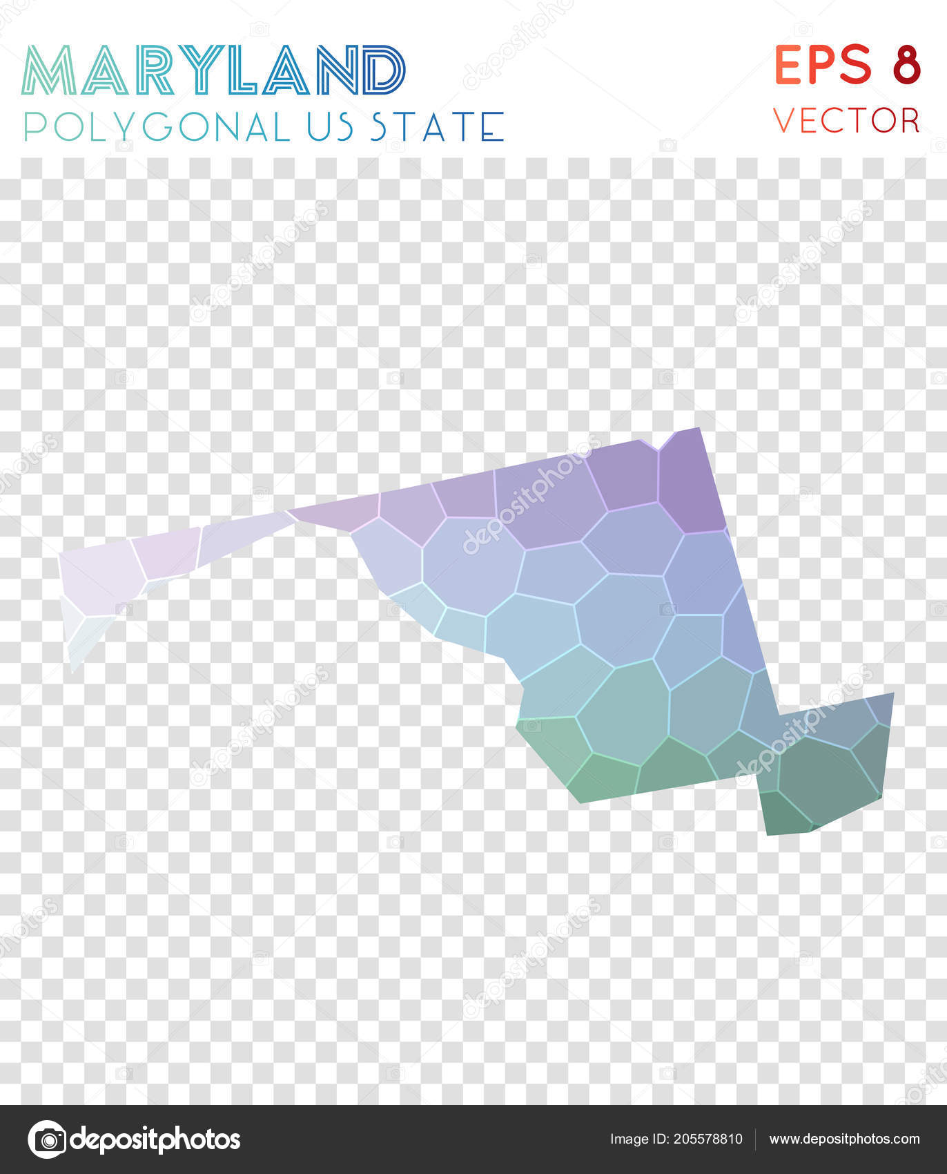Fantastisch Maryland Polygonal Map, Mosaic Style Us State. Wonderful Low Poly Style,  Modern Design. Maryland Polygonal Map For Infographics Or Presentation. U2014  Vetor De ...