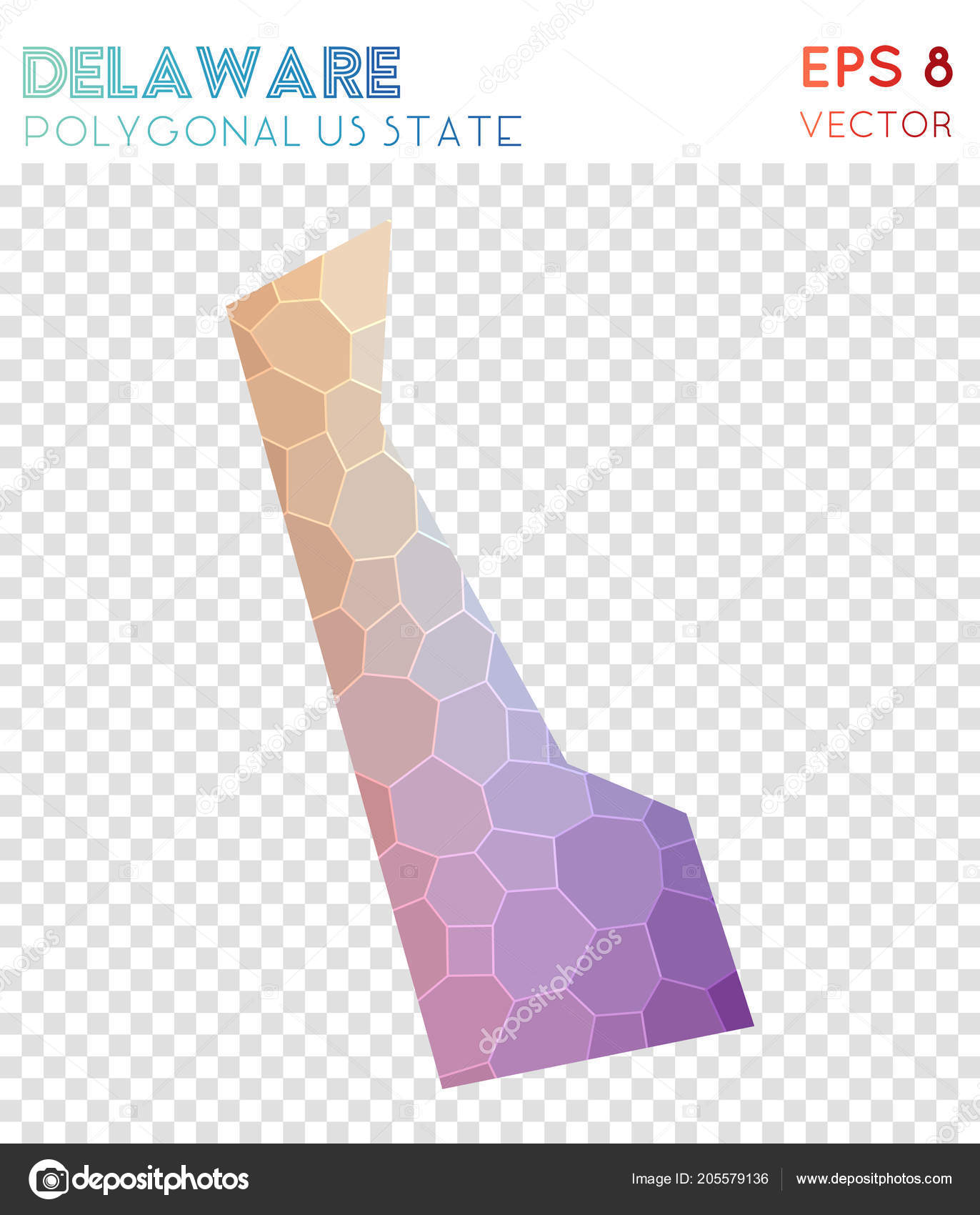 Delaware Polygonal Map, Mosaic Style Us State. Superb Low Poly Style,  Modern Design. Delaware Polygonal Map For Infographics Or Presentation. U2014  Vetor De ...