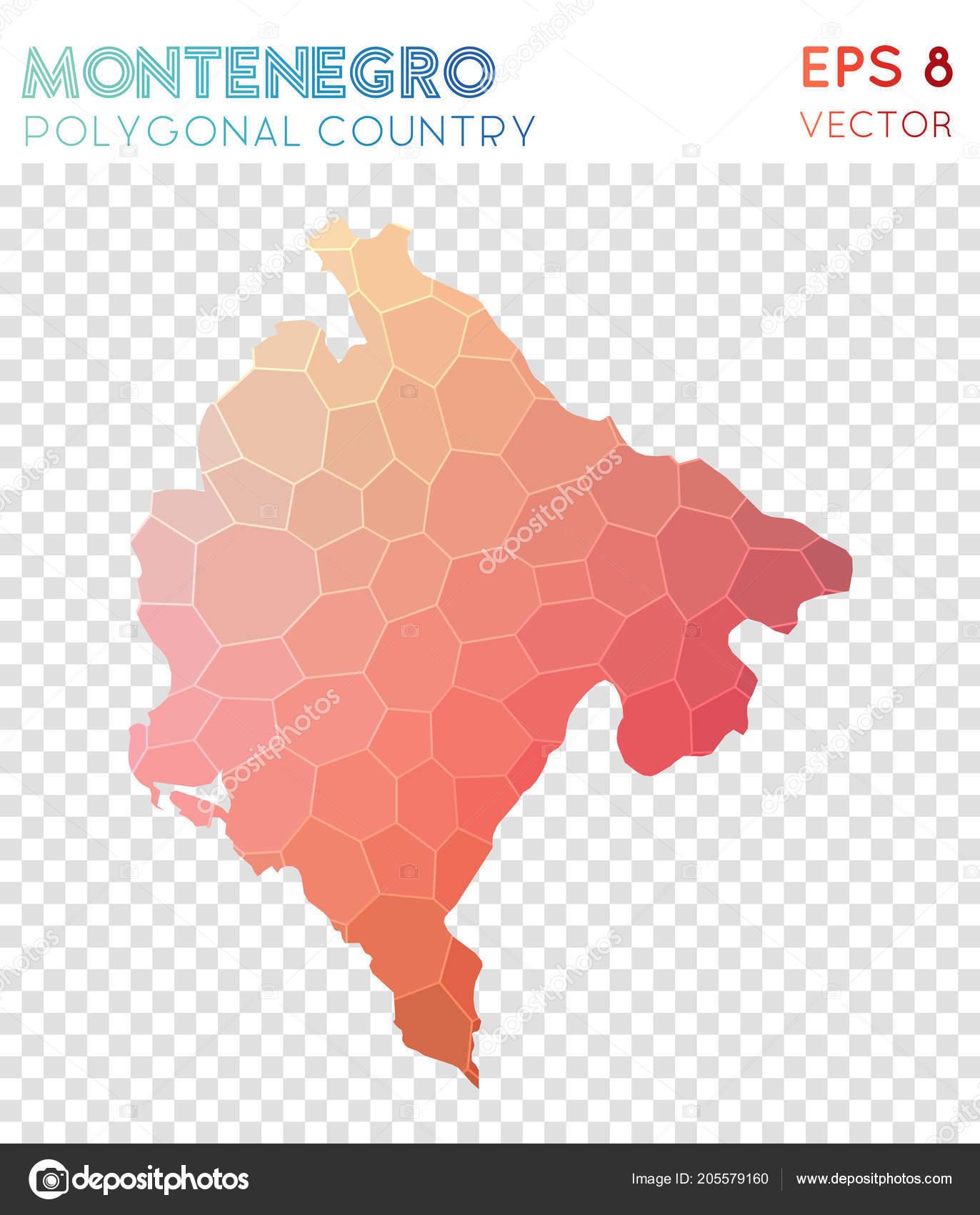 Montenegro Polygonal Map Mosaic Style Country Stunning Low Poly Style  Modern Design Montenegro U2014 Vetor De