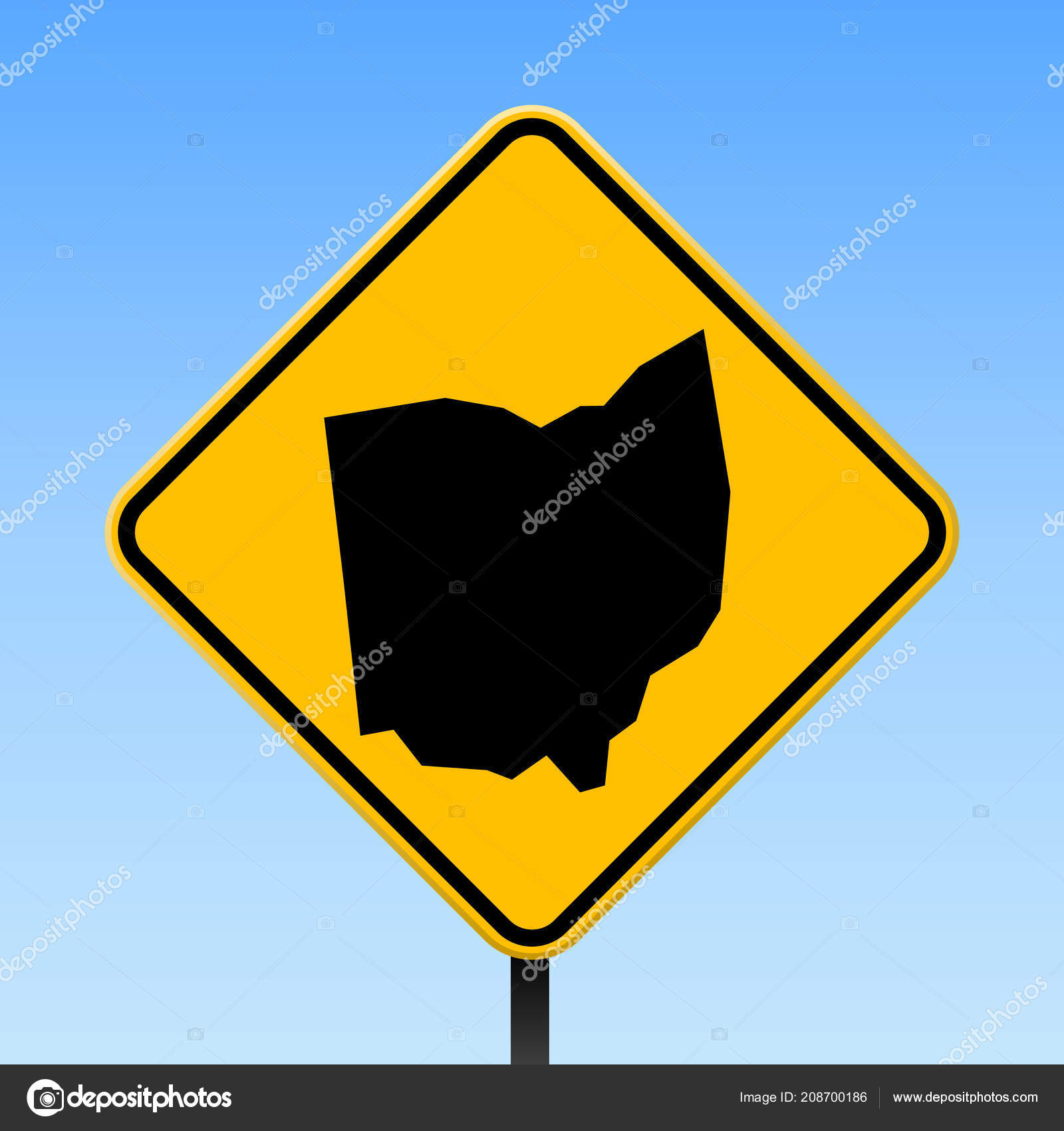Ohio Map On Road Sign Square Poster With Ohio Us State Map On Yellow