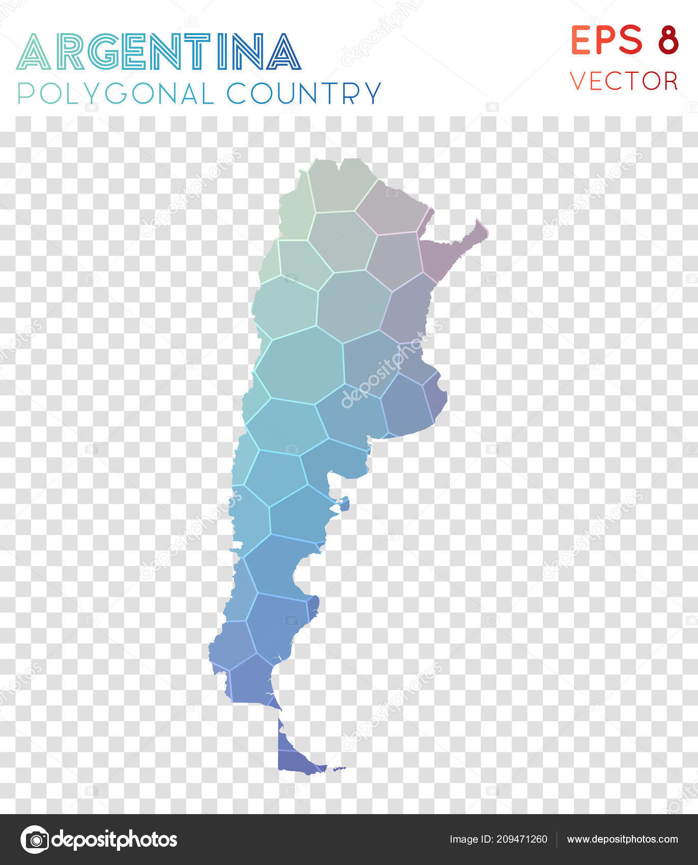 Attraktiv Argentina Polygonal Map Mosaic Style Country Amazing Low Poly Style Modern  Design Argentina U2014 Vetores De