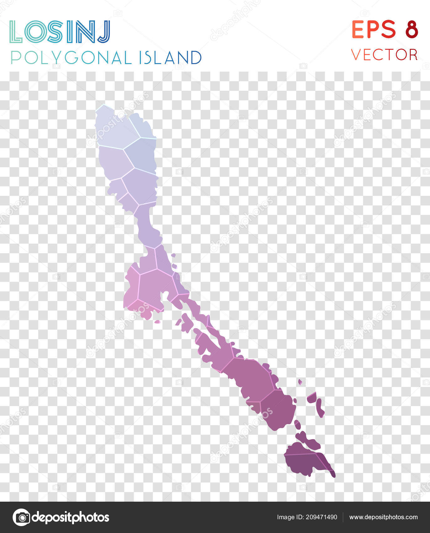 Wunderbar Losinj Polygonal Map Mosaic Style Island Captivating Low Poly Style Modern  Design Losinj U2014 Vetores De