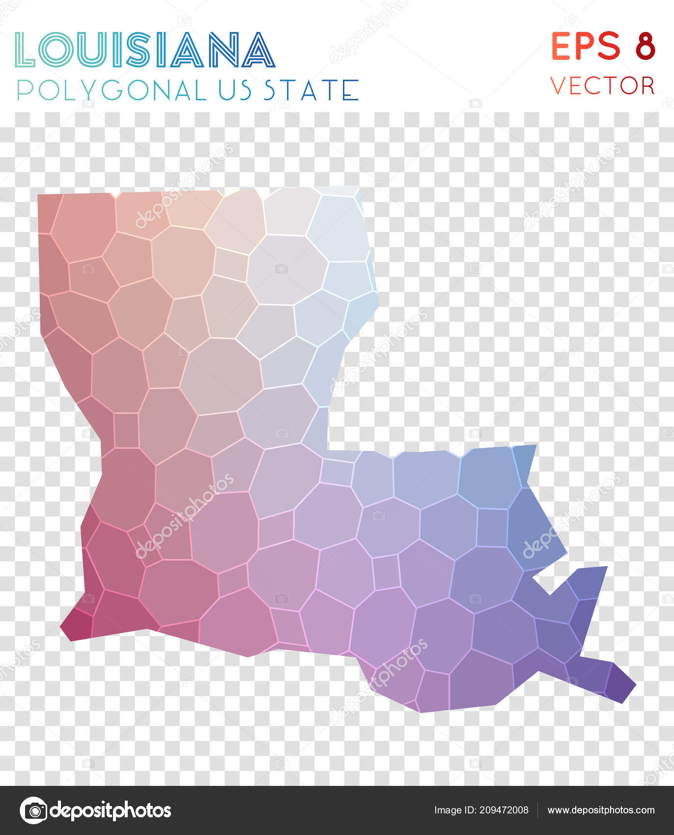 Louisiana Polygonal Map, Mosaic Style Us State. Valuable Low Poly Style,  Modern Design. Louisiana Polygonal Map For Infographics Or Presentation. U2014  Vetor De ...