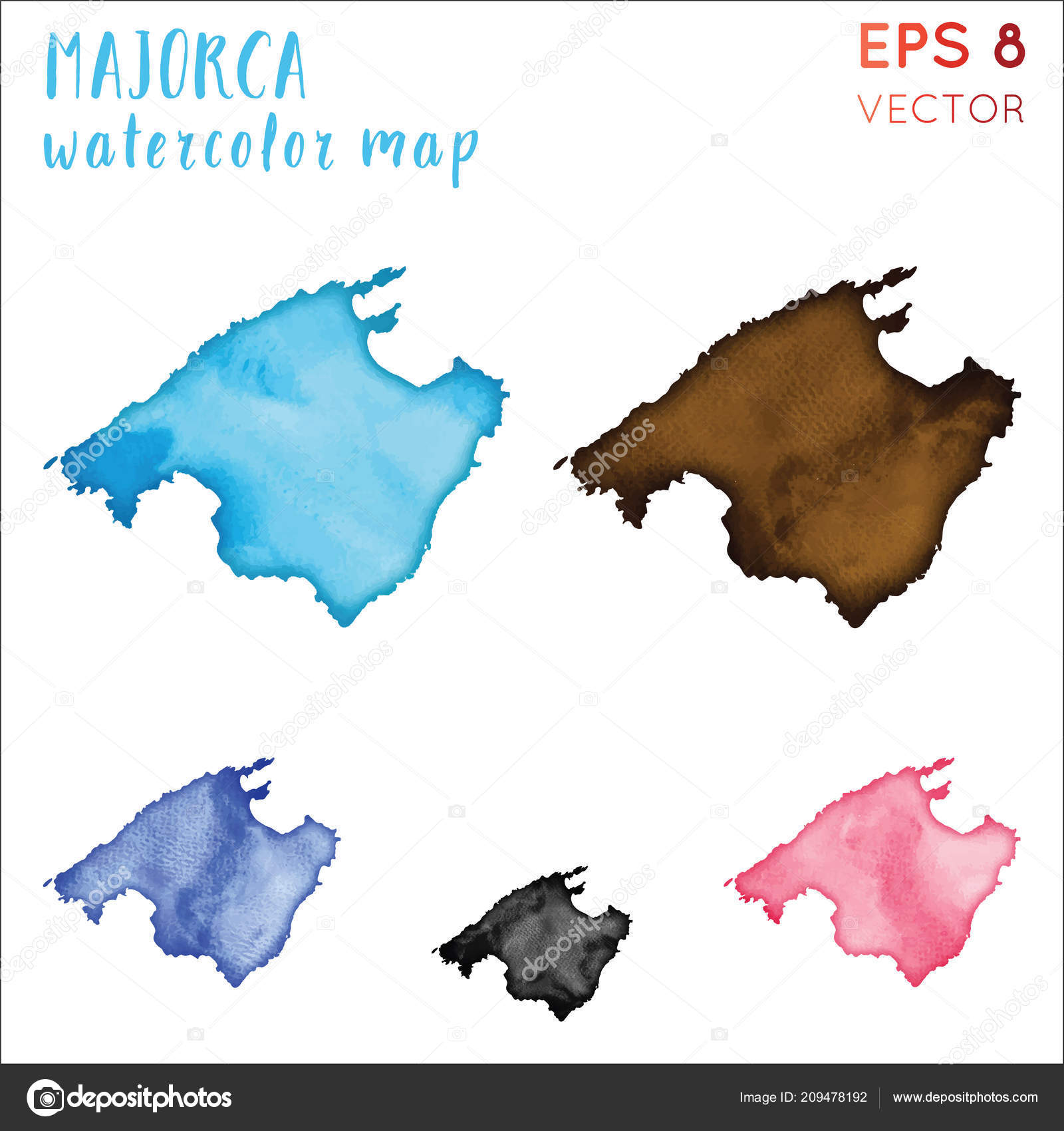 Mallorca Aquarell Inselkarte handbemalt Aquarell Mallorca Karte ...