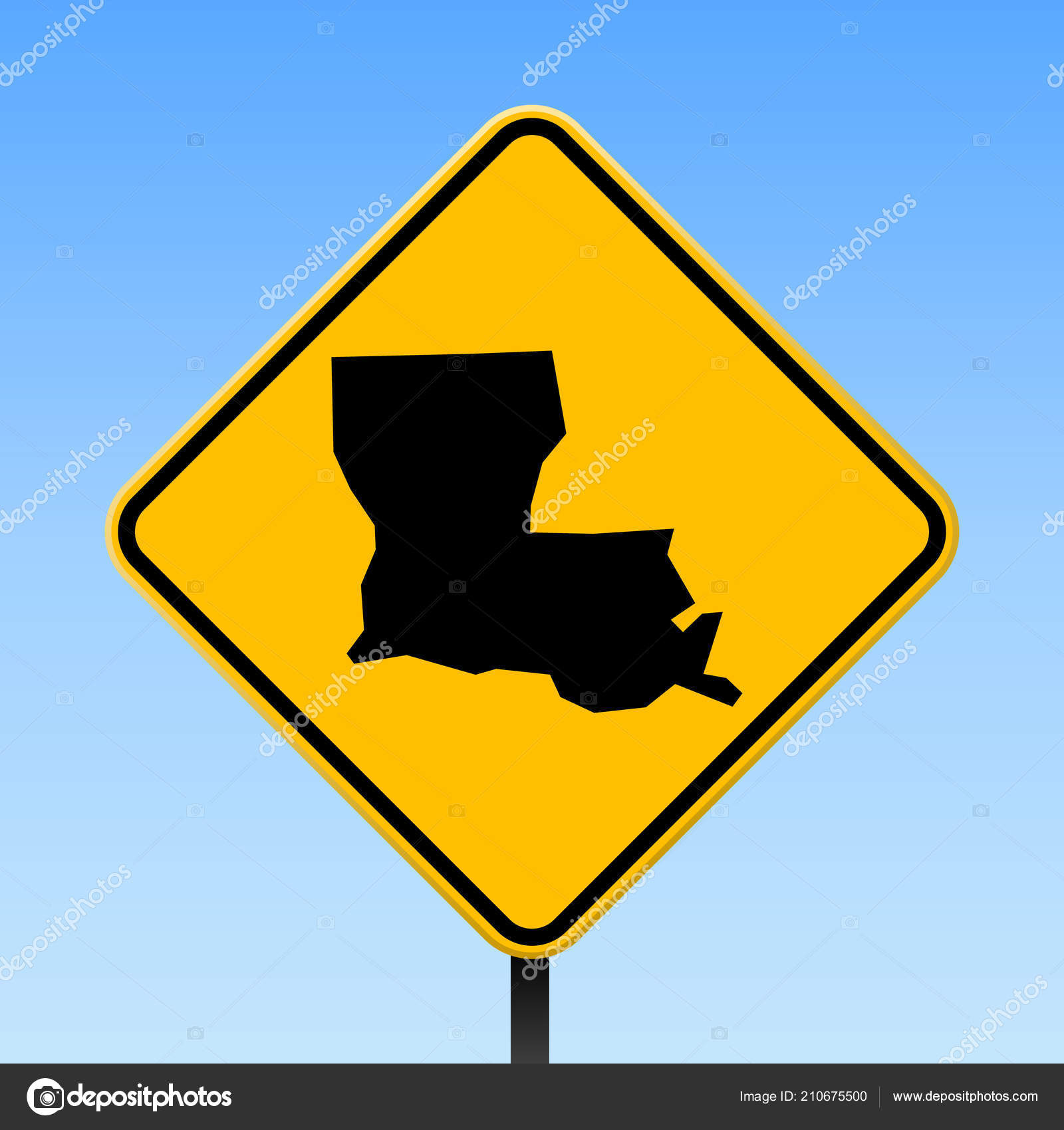 Louisiana Traffic Map.Louisiana Map On Road Sign Square Poster With Louisiana Us State Map