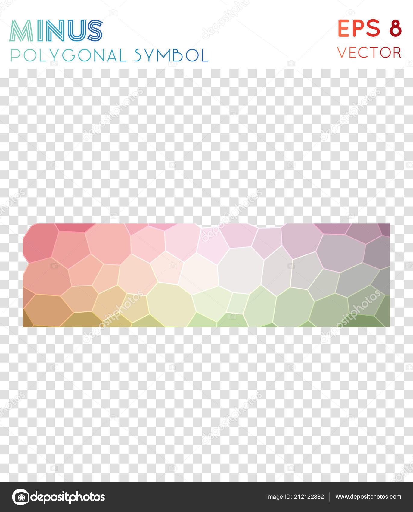 Minus Polygonal Symbol Astonishing Mosaic Style Symbol Vibrant Low Poly  Style Modern Design U2014 Vetores De