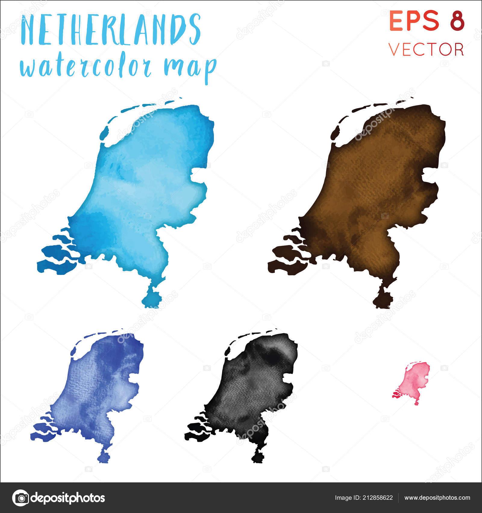 Niederlande Karte Umriss.Niederlande Aquarell Landkarte Handbemalt Aquarell Niederlande Karte