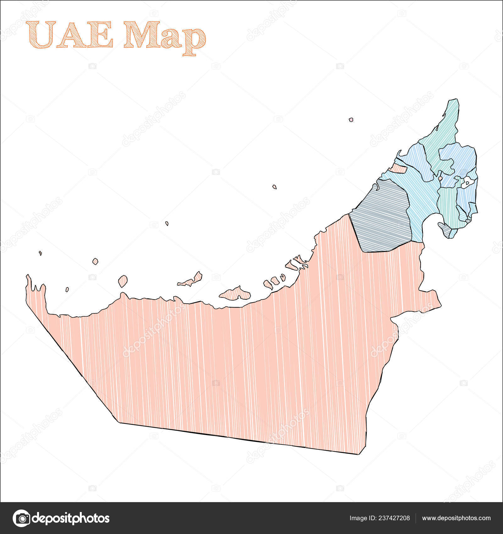 UAE handdrawn map Colourful sketchy country outline Alive ... on countries of uae, cities of uae, regions of uae, states of uae, geographical features of uae, national flag of uae, peninsulas of uae,