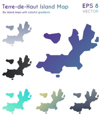 Map of TerredeHaut Island with beautiful gradients Awesome set of TerredeHaut Island maps
