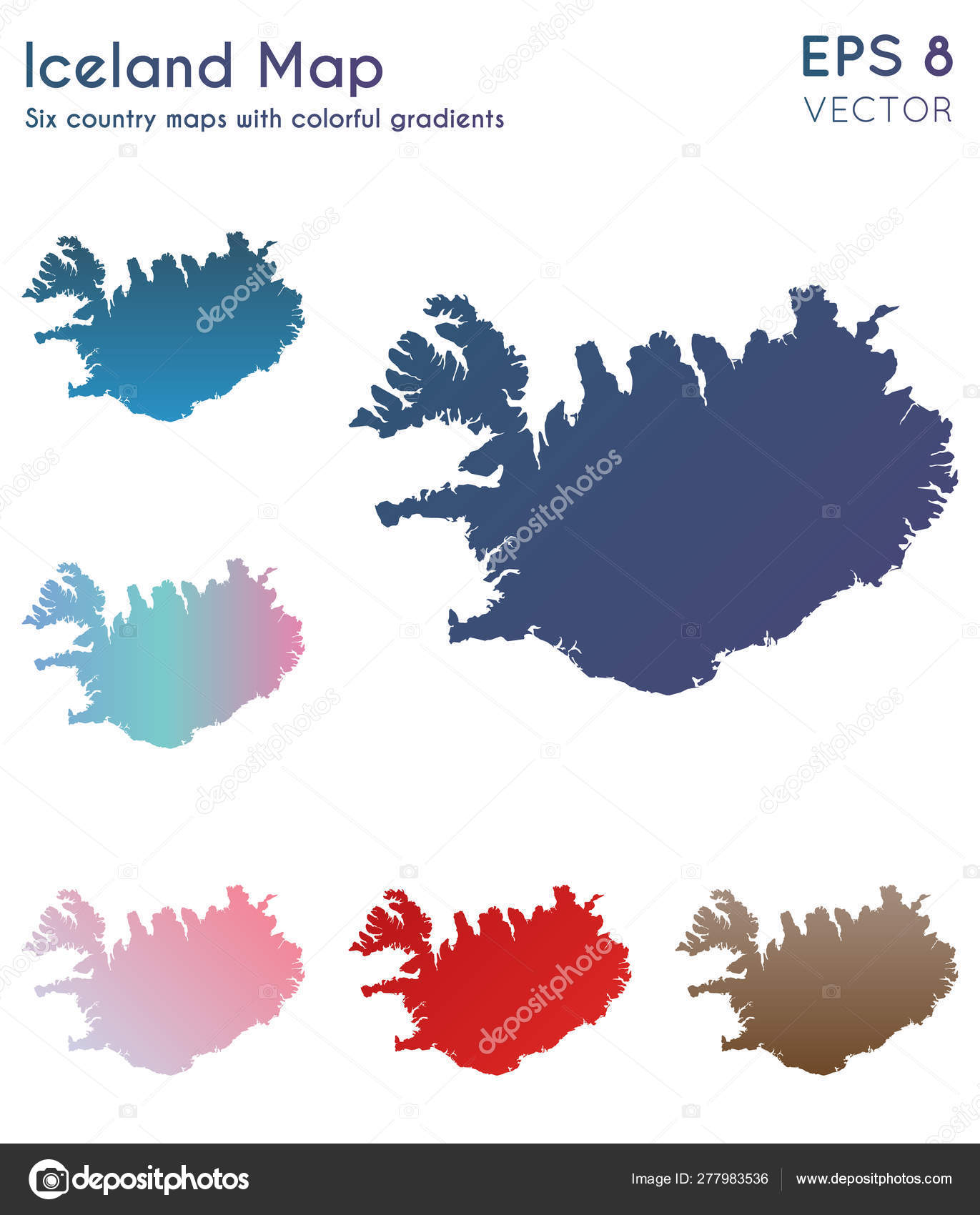 Map of Iceland with beautiful gradients Adorable set of ...