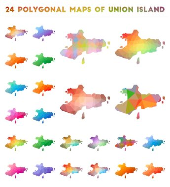 Set of vector polygonal maps of Union Island. Bright gradient map of island in low poly style. Multicolored Union Island map in geometric style for your infographics. icon