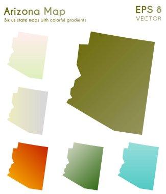 Map of Arizona with beautiful gradients Awesome set of Arizona maps Shapely vector illustration