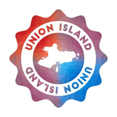 Union Island low poly logo. Colorful gradient travel logo of the island in geometric style. Multicolored polygonal Union Island rounded sign with map for your infographics. icon