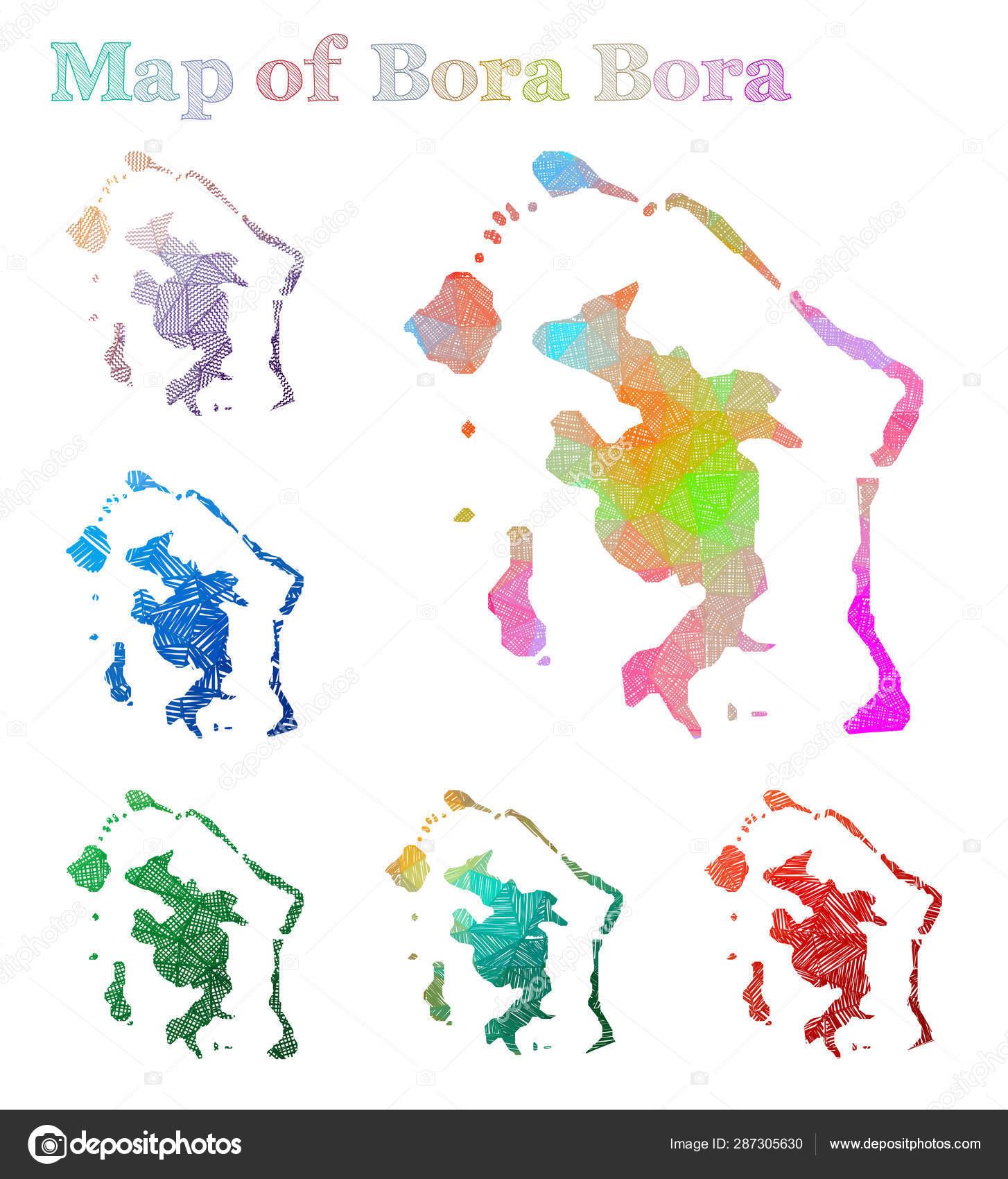 Handdrawn Map Of Bora Bora Colorful Island Shape Sketchy