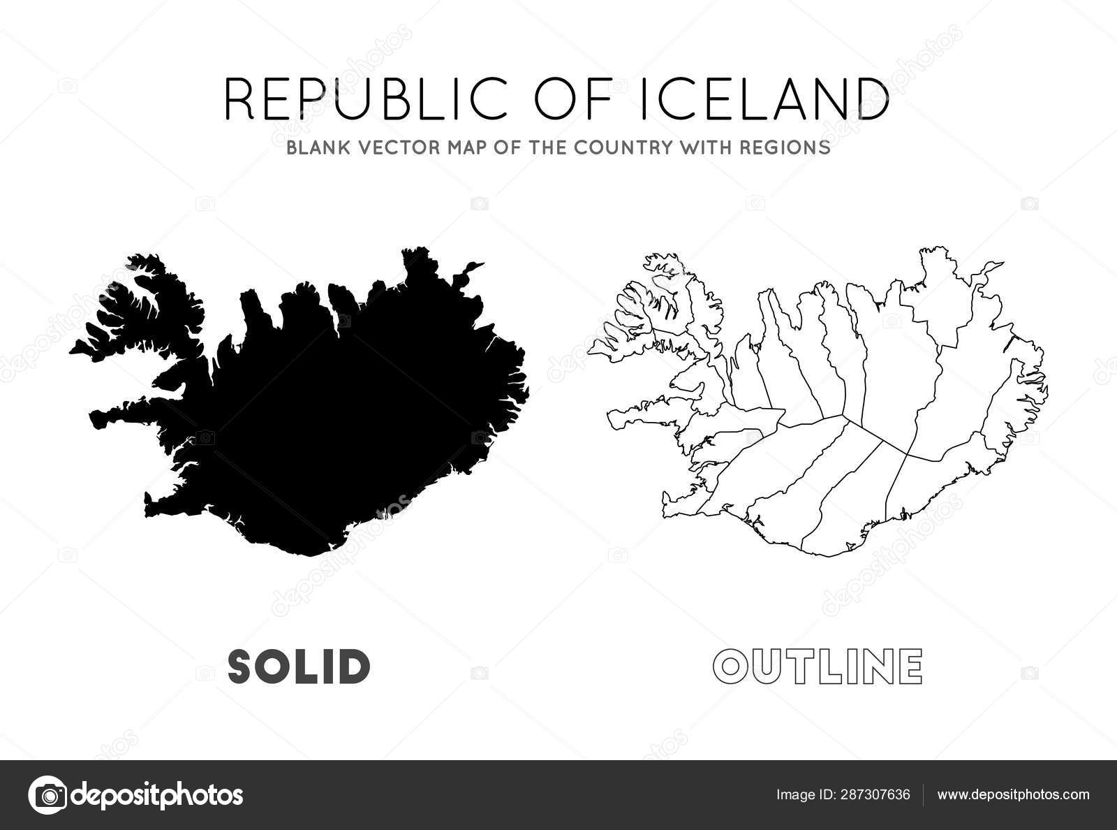 Iceland map Blank vector map of the Country with regions ...