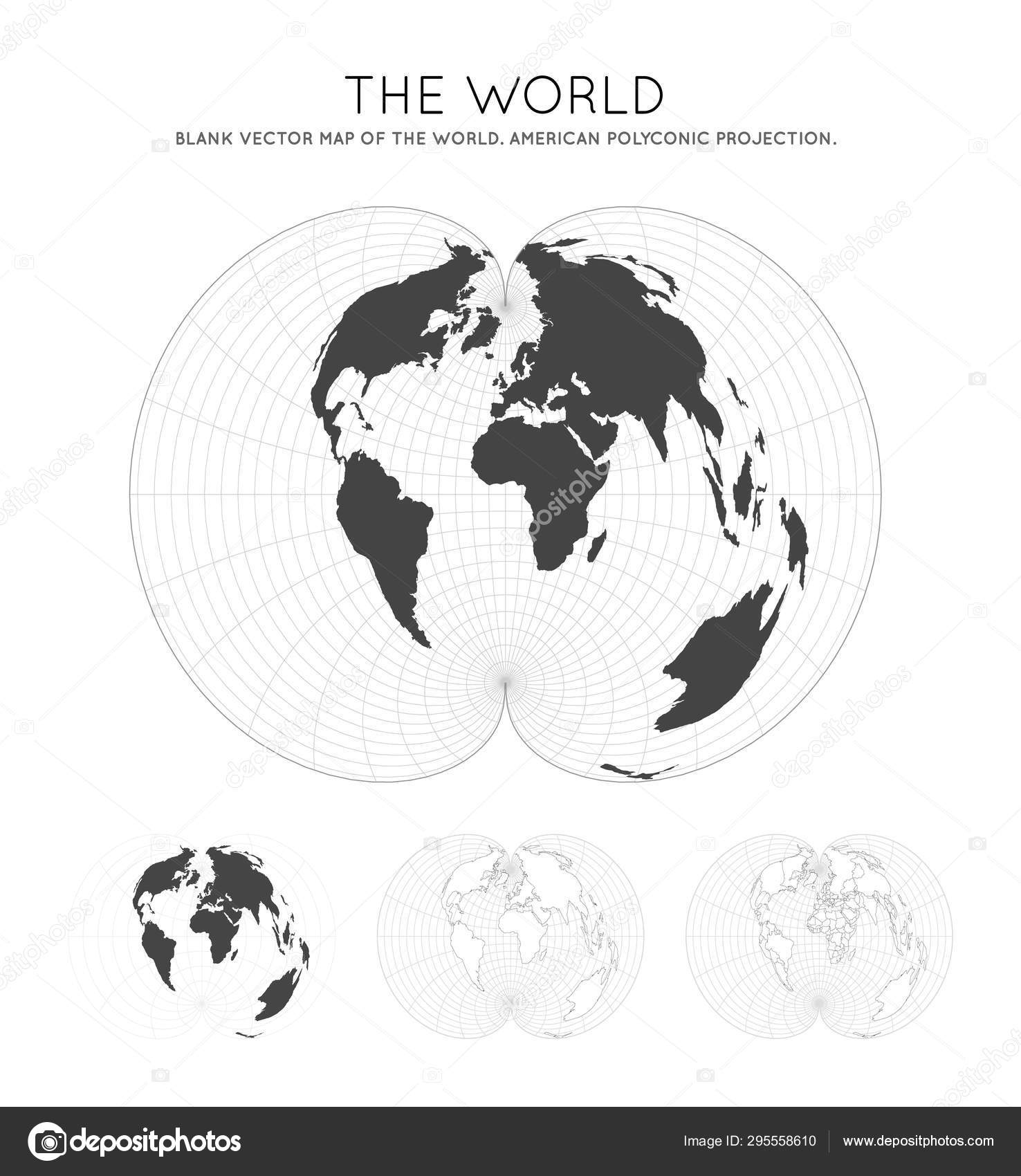 Picture of: Map Of The World American Polyconic Projection Globe With Latitude And Longitude Lines World Map Stock Vector C Gagarych 295558610