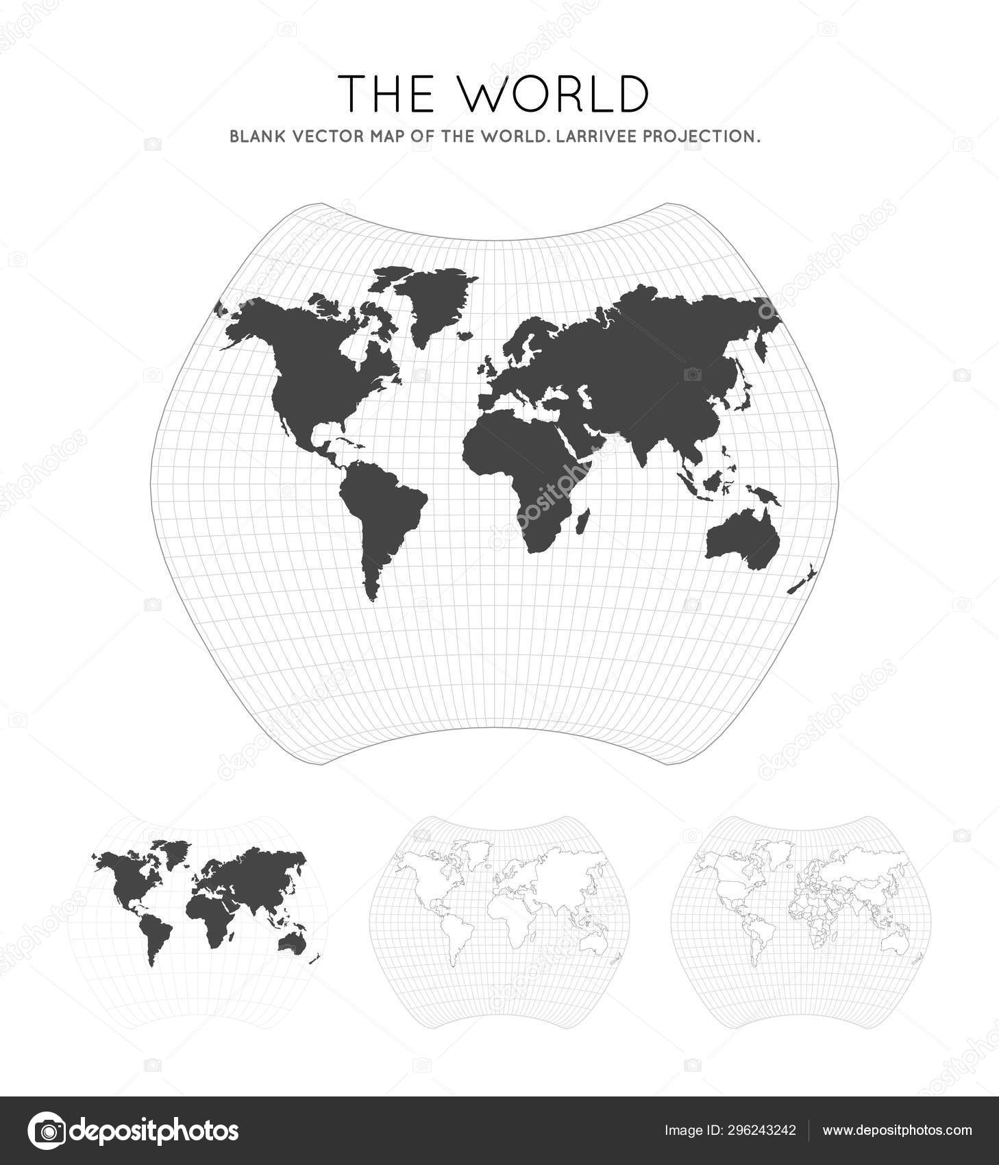 Picture of: Map Of The World Larrivee Projection Globe With Latitude And Longitude Lines World Map On Stock Vector C Gagarych 296243242