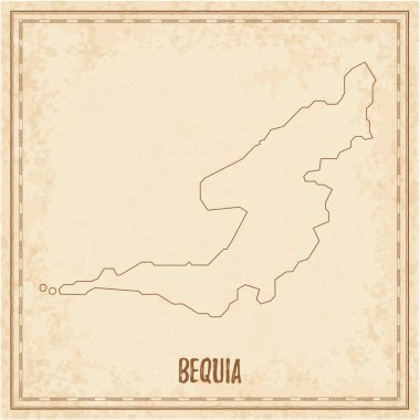 Pirate map of Bequia Blank vector map of the Island Vector illustration