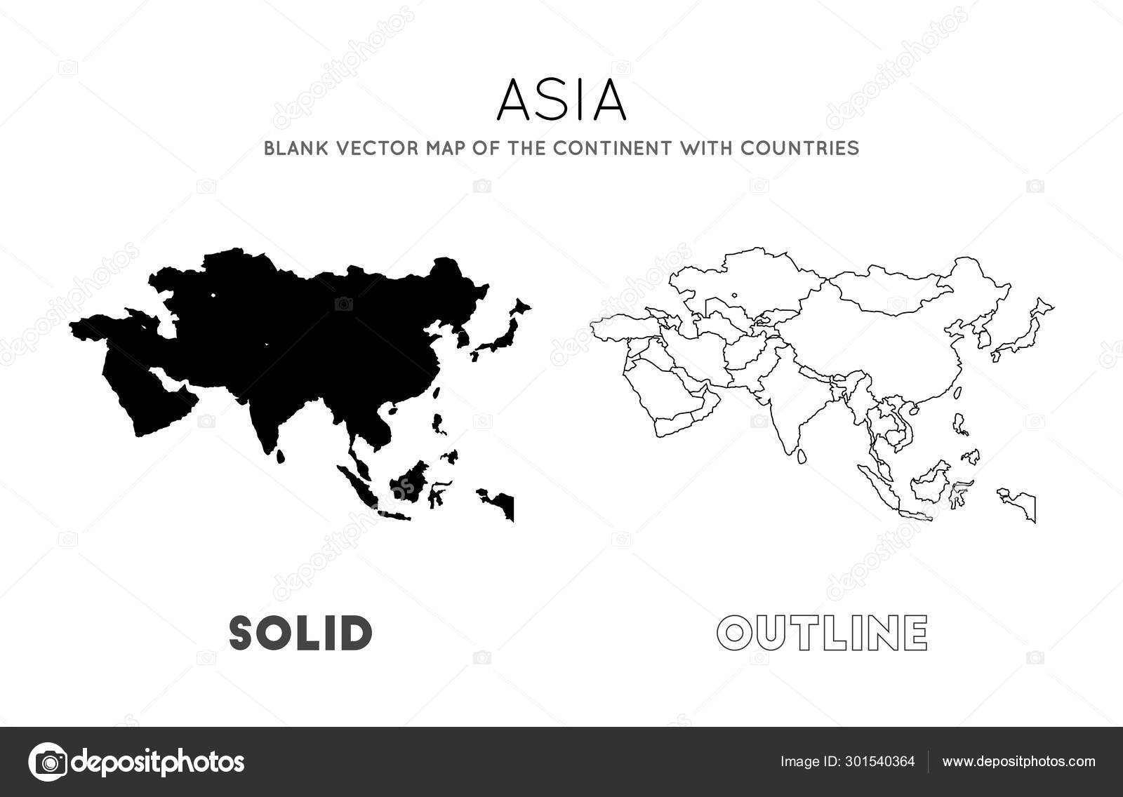 Asia map Blank vector map of the Continent with countries ...