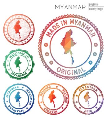 Myanmar badge. Colorful polygonal country symbol. Multicolored geometric Myanmar logos set. Vector illustration. icon