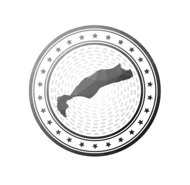 Flat low poly stamp of Kos. Polygonal Kos badge. Trendy vector logo of the island. icon