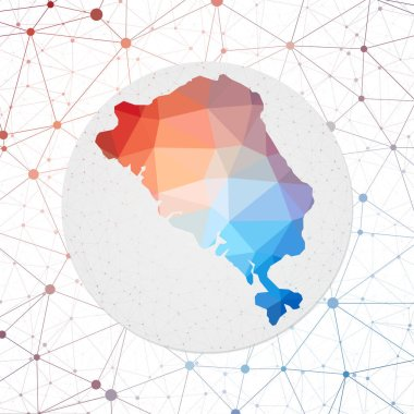 Abstract vector map of Colon Island Technology in the island geometric style poster Polygonal