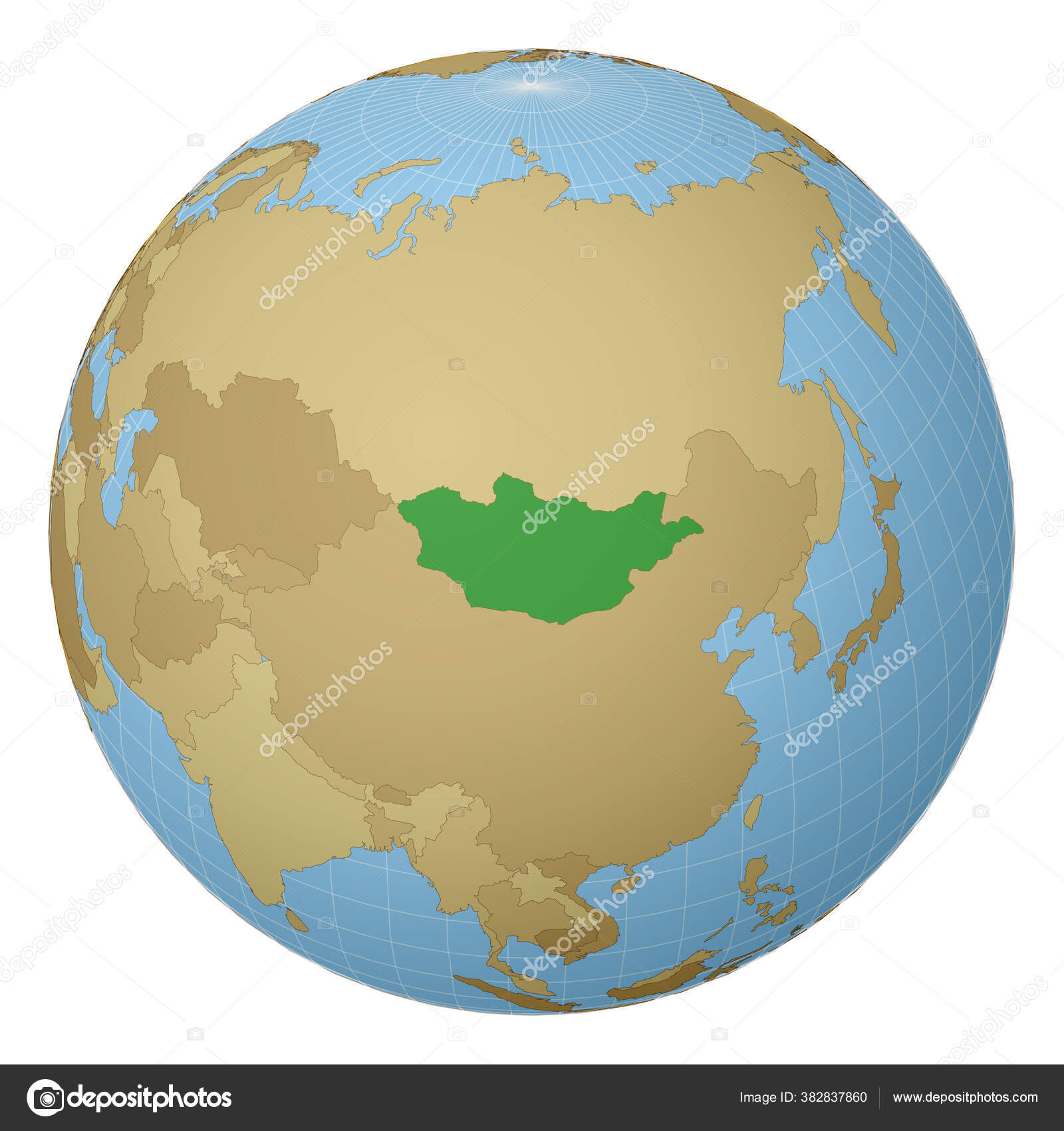 Globe Centered To Mongolia Country Highlighted With Green Color On World Map Satellite Projection Stock Vector C Gagarych 382837860