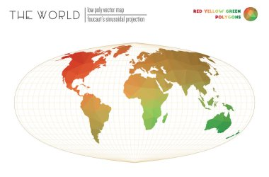Low poly design of the world Foucauts sinusoidal projection of the world Red Yellow Green colored