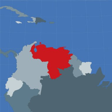 Shape of the Venezuela in context of neighbour countries Country highlighted with red color on