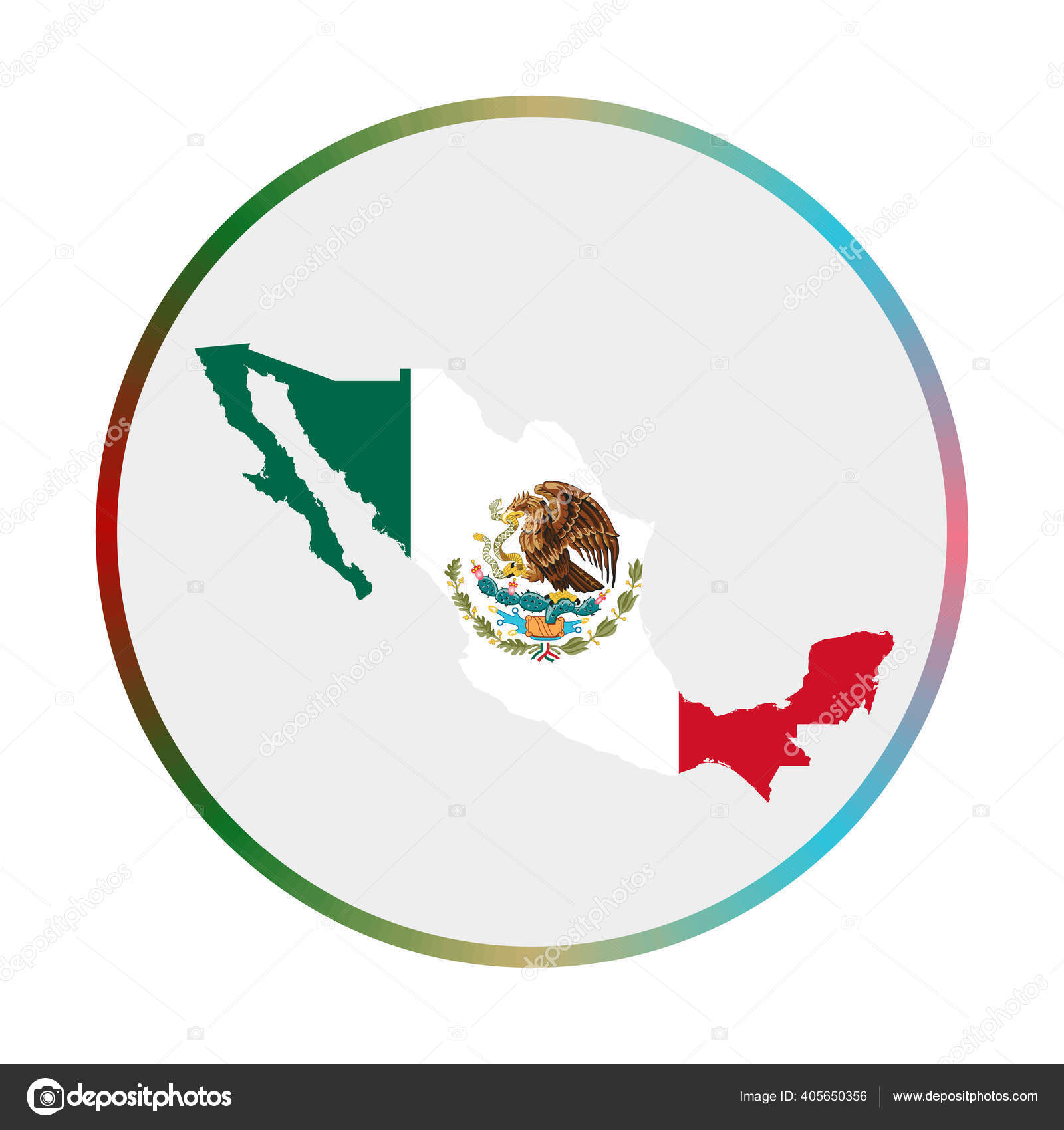 Mexico Icon Shape Of The Country With Mexico Flag Round Sign With Flag Colors Gradient Ring Stok Vektor C Gagarych 405650356