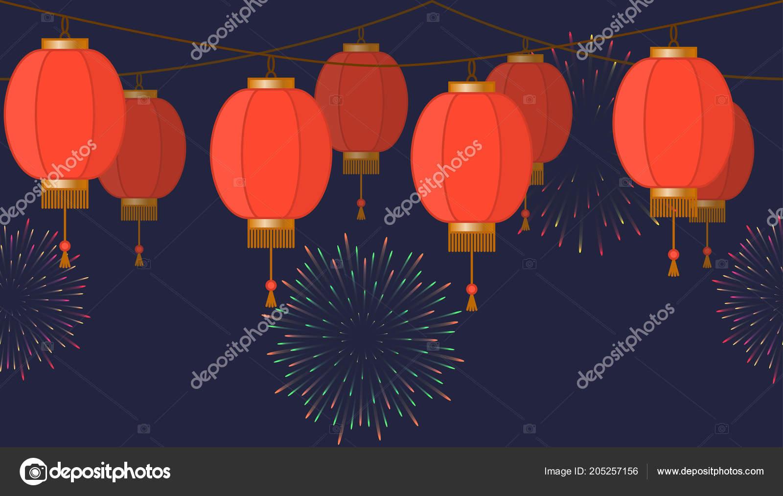 Lampade Cinesi Di Carta.Ghirlanda Con Lanterne Cinesi Catena Lampade Di Carta