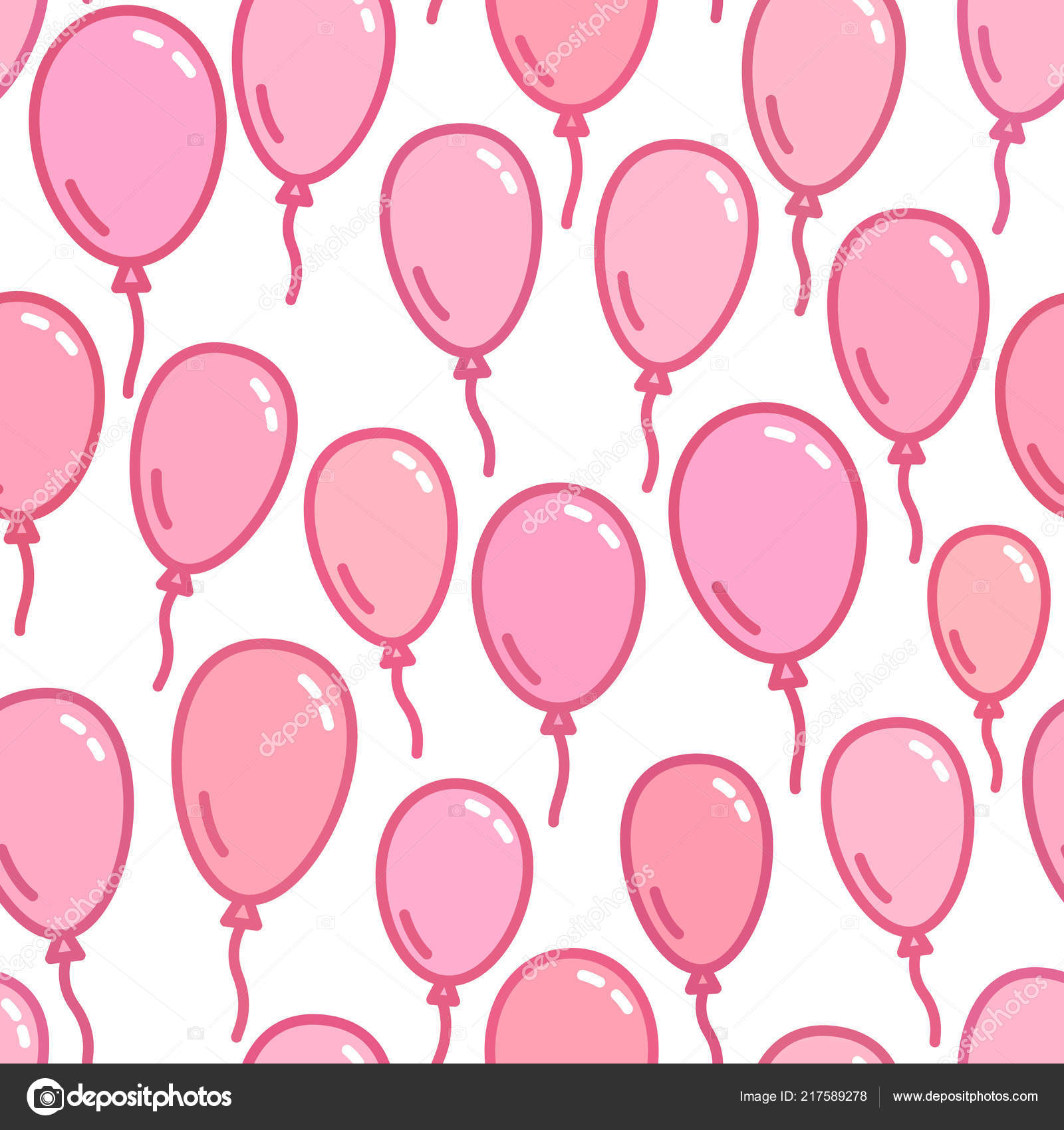 Seamless pattern with pink balloons, naive and simple background, pink wallpaper, vector illustration