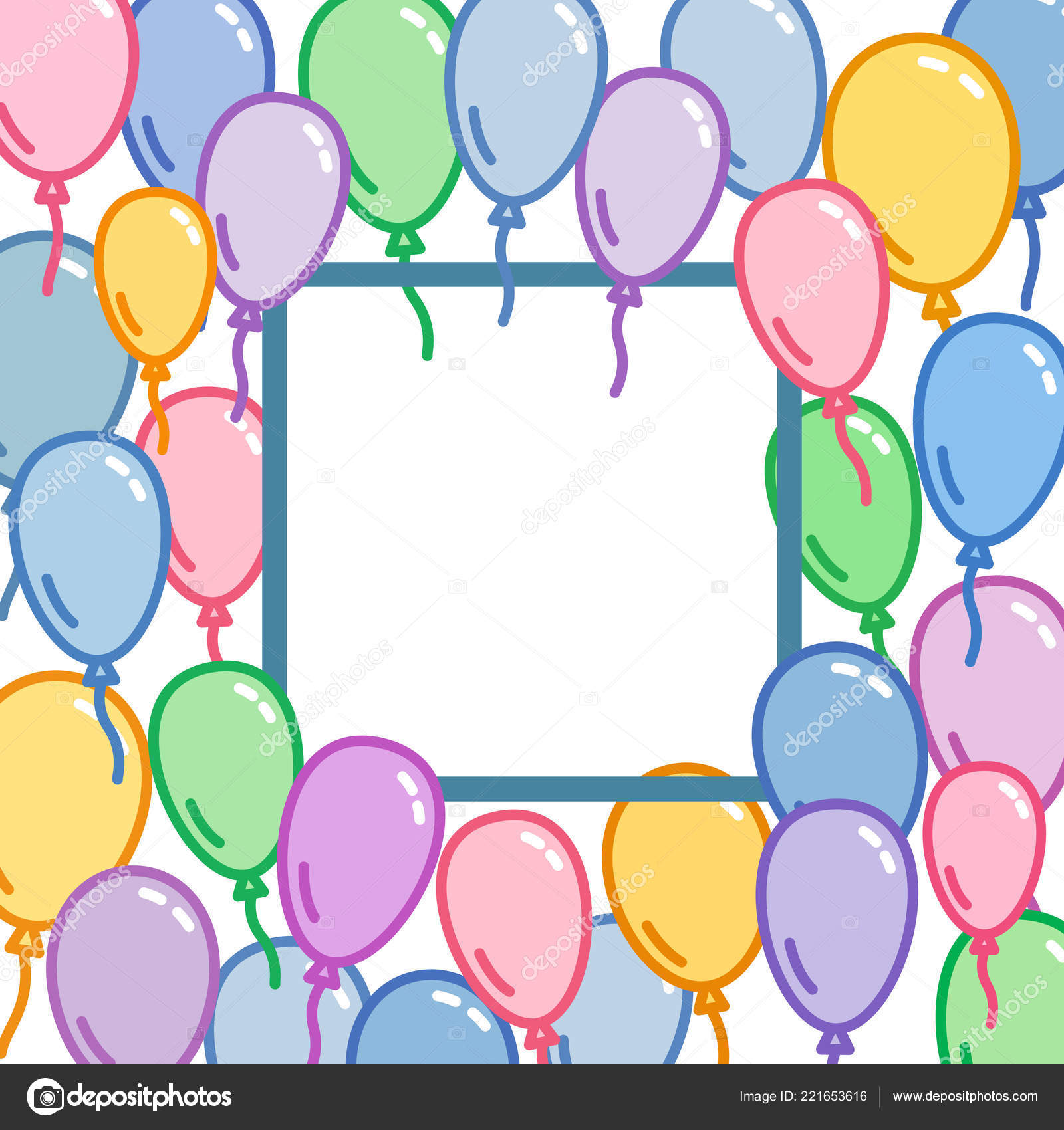 Square Place For Text Decoration With Colorful Balloons Naive And Simple Decorative Design Party Wallpaper Vector Illustration Banners Footers