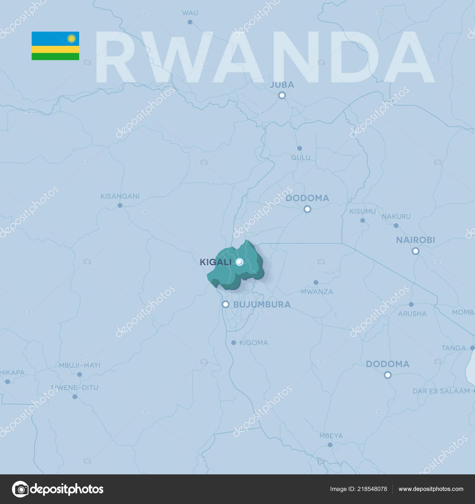 Carte Afrique Rwanda.Verctor Carte Des Villes Des Routes Afrique Rwanda Ses