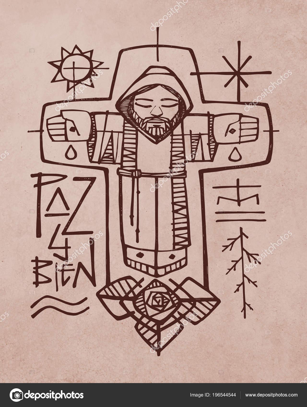 ilustração mão desenhada desenho uma broither franciscana símbolos