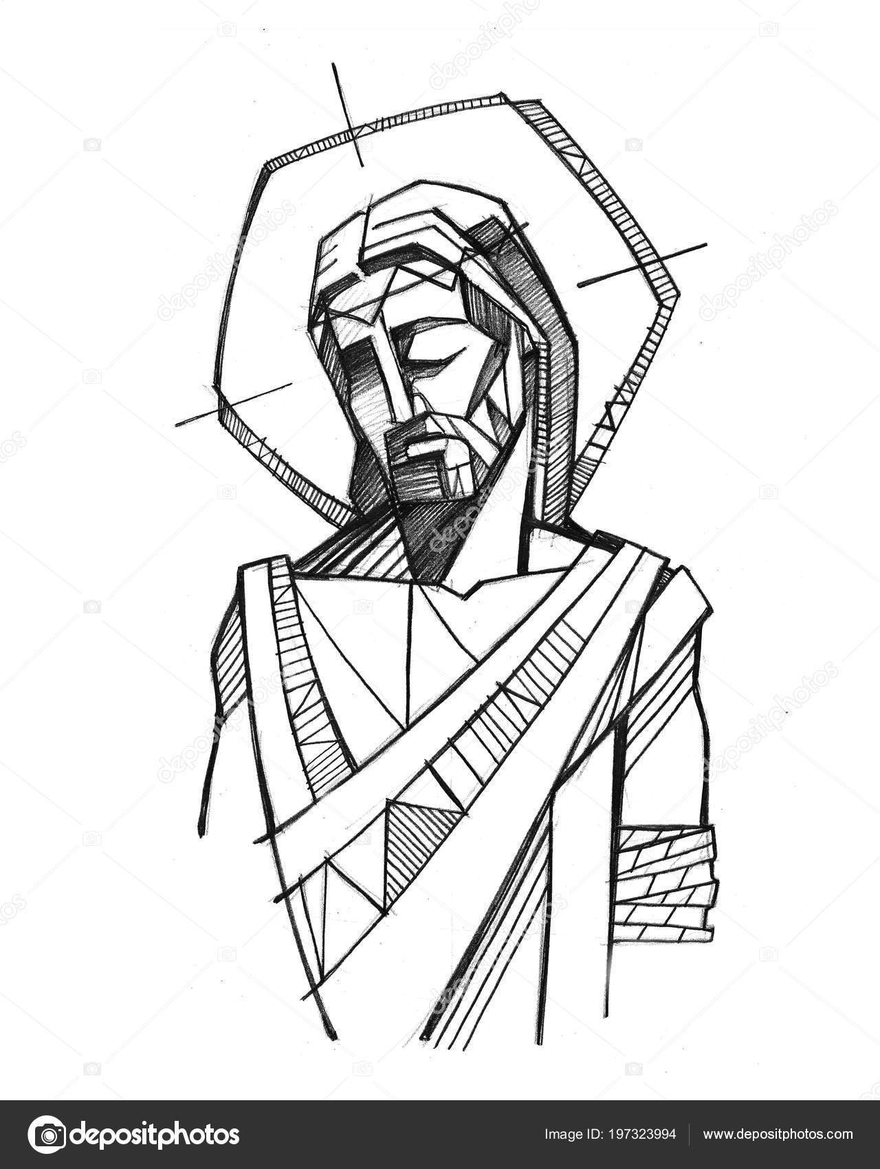 Drawings Jesus Christ Black And White Hand Drawn Illustration