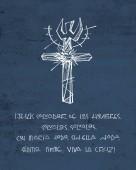 Fényképek Kézzel készült rajz vallási szimbólum és a spanyol kifejezés