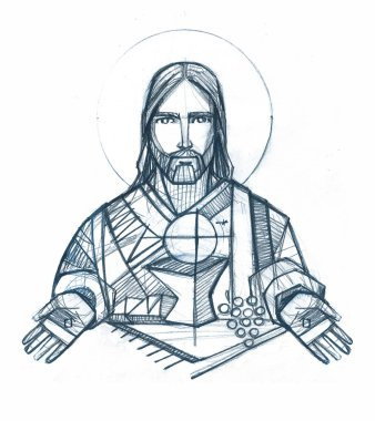 Hand drawn drawing of Jesus Christ and Eucharist symbols
