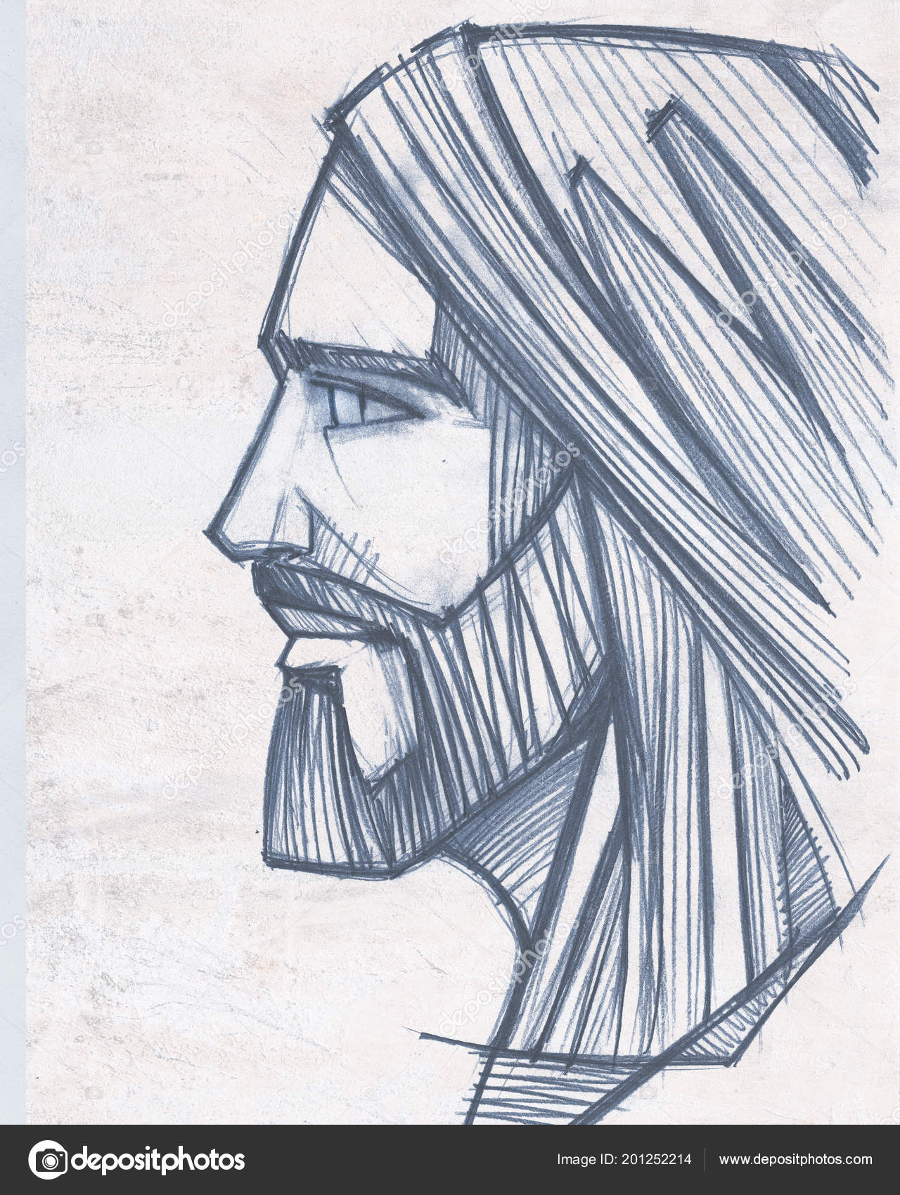 Hand drawn pencil drawing jesus christ face stock photo