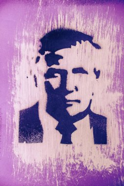 DALLAS, TEXAS, UNITED STATES - JUNE 7,2018: Drawing of Donald Trump by spray stencil
