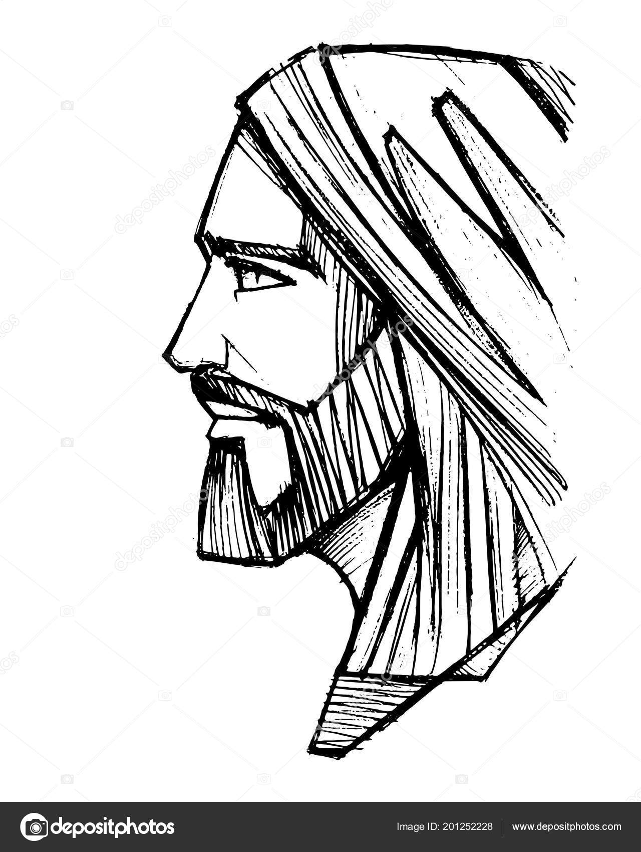 Hand drawn pencil drawing jesus christ face stock vector