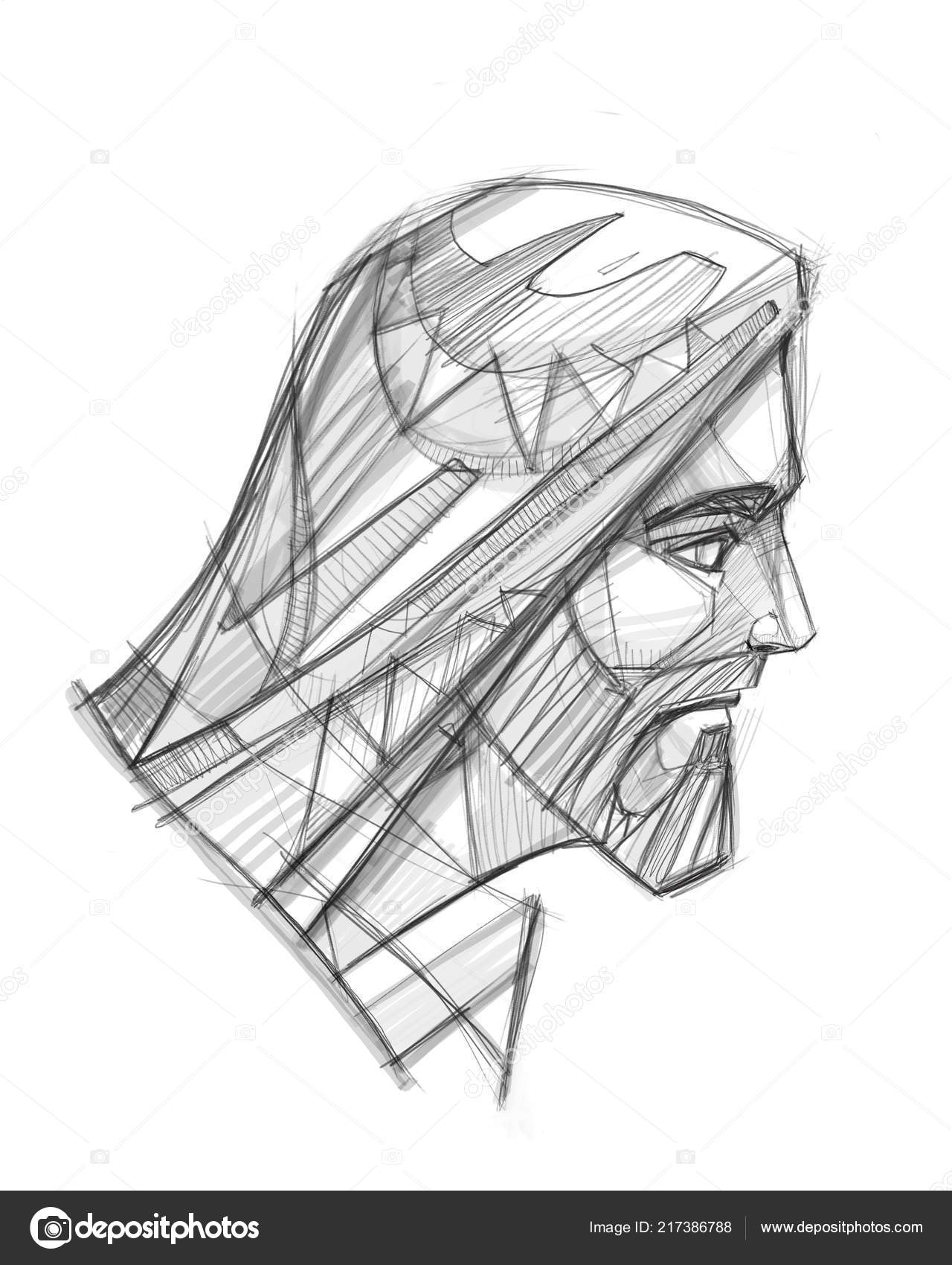 Hand drawn illustration pencil drawing jesus christ face stock photo