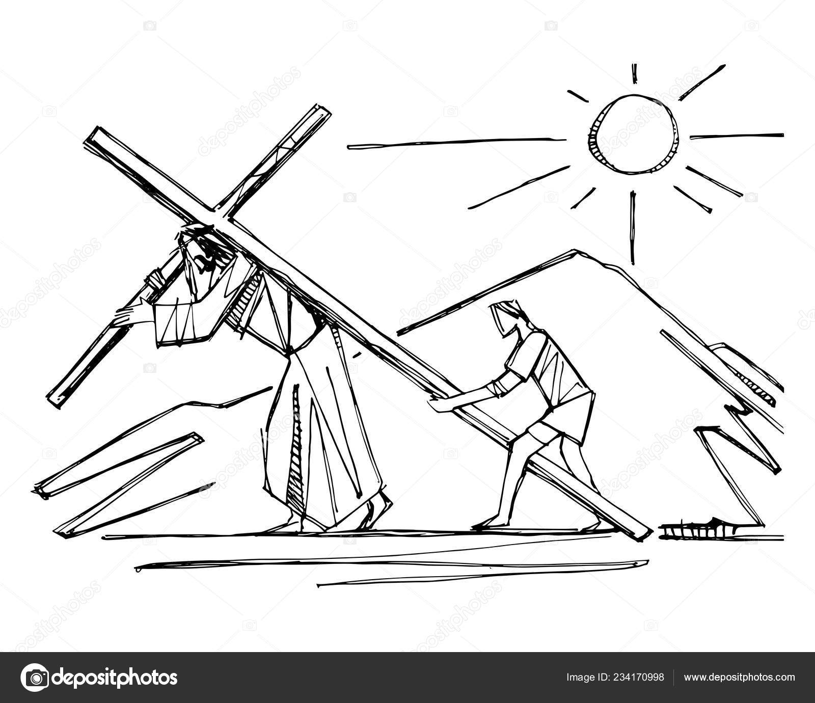 Hand Drawn Vector Illustration Drawing Jesus Christ His Passion
