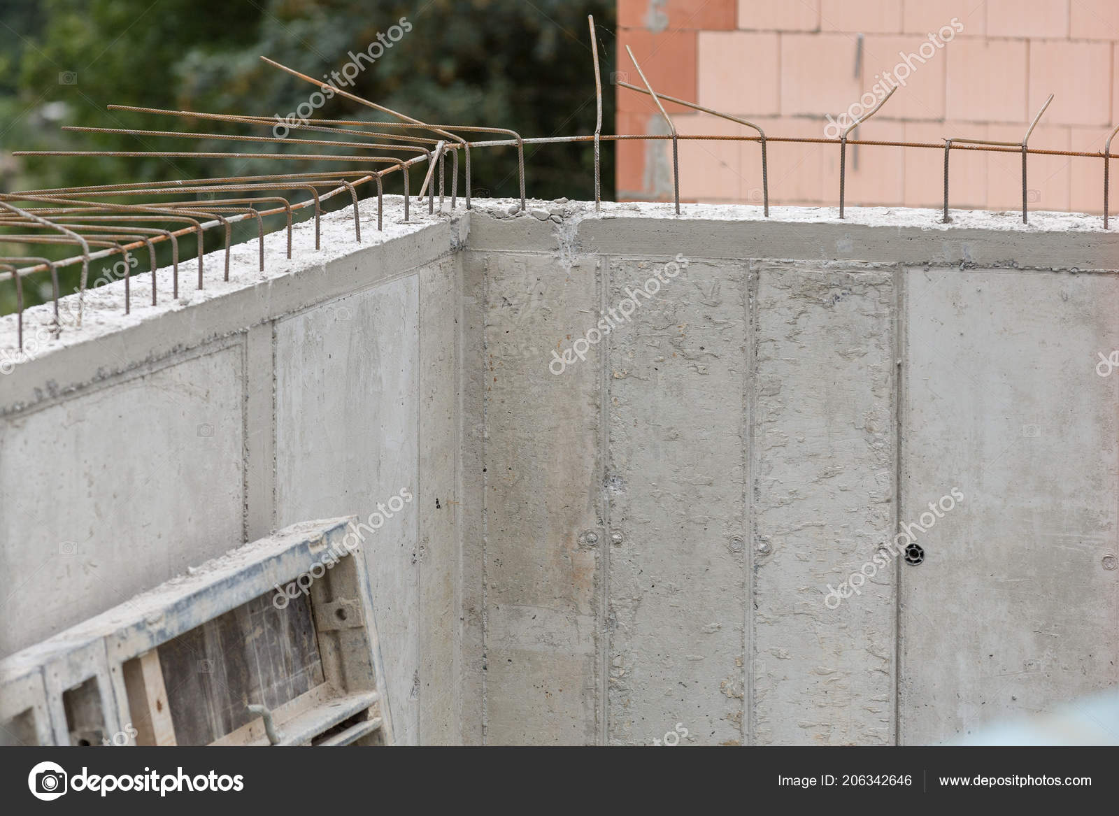Armored concrete wall with open connection steel — Stock